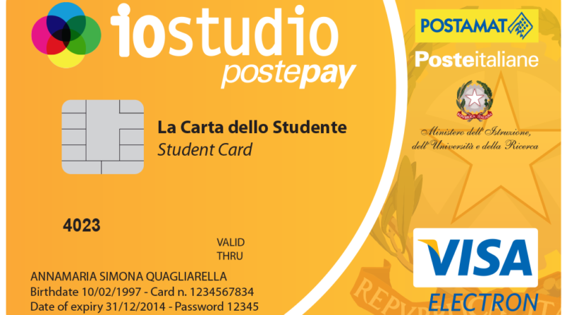 """Servizio """"Carta dello Studente – IoStudio"""": attivazione delle funzionalità Postepay – importanti aggiornamenti"""