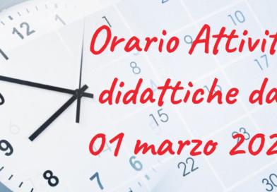 Organizzazione attività didattiche dall'1 Marzo 2021 al 14 Marzo 2021