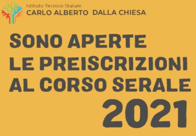 <!-- SONO APERTE LE PREISCRIZIONI AL CORSO SERALE CARLO ALBERTO DALLA CHIESA 2021 -->