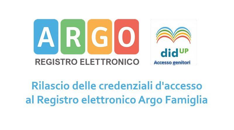 Credenziali di accesso al registro elettronico Argo famiglia classi PRIME